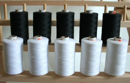 New ThreadNanny Black and White Spools of 3-PLY Polyester Sewing Quilting Serger Threads