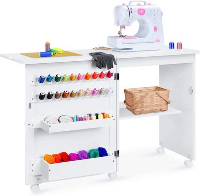 Best Choice Products Folding Sewing Table Multipurpose Craft Station & Side Desk