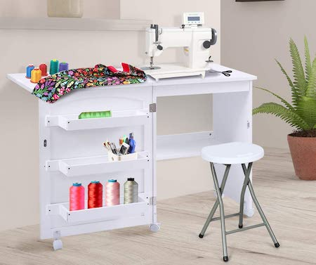 Giantex Folding Sewing Craft Table, Sewing Craft Cart with Storage Shelves