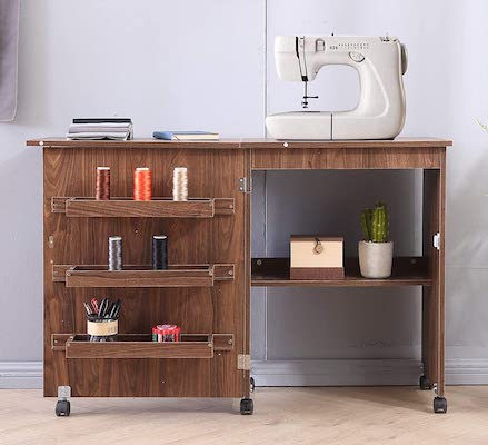 Lipo Foldable Sewing Craft Table Cart, Art Desk with Storage Shelves and Lockable Casters