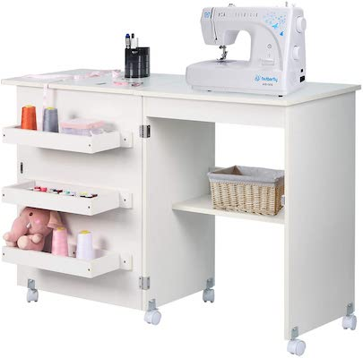 NSdirect Sewing Table, Folding Sewing Craft Cart&Sewing Cabinet
